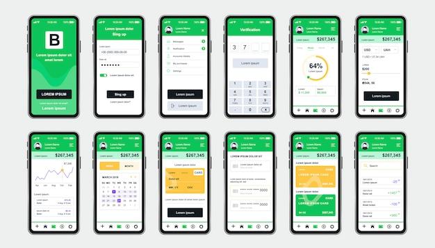 앱용 온라인 뱅킹 고유 한 디자인 키트. 재무 분석, 기기 및 서비스가 포함 된 모바일 지갑 화면. 재무 관리 ui, ux 템플릿 세트. 반응 형 모바일 애플리케이션을위한 gui.