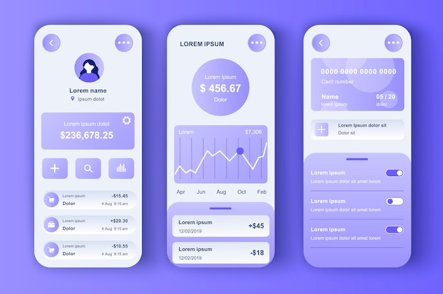 Online banking unique neomorphic  kit. smart finance app with manage transactions and view account activities. financial management ui, ux template set. gui for responsive mobile application.