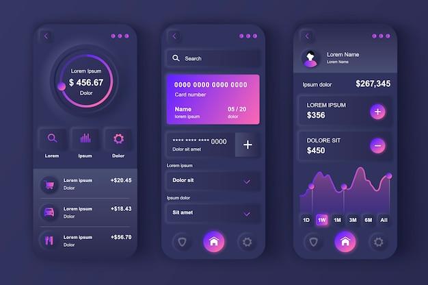 Online banking unique neumorphic design kit.