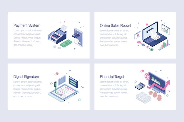 Online banking vector illustrations set