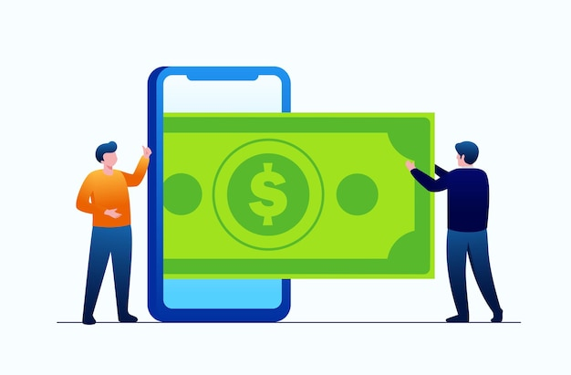 Online banking with smartphone or money wallet concept. digital finance technology. vector flat