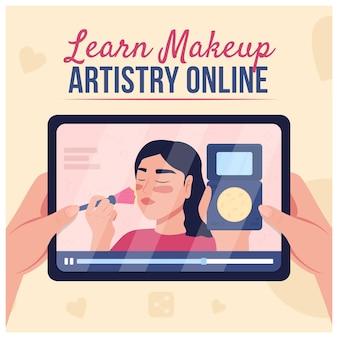 Макет публикации в социальных сетях онлайн-учебник по красоте. выучите онлайн-фразу «мастерство макияжа». шаблон дизайна веб-баннера. бустер, верстка контента с надписью. плакат, печатная реклама и плоская иллюстрация
