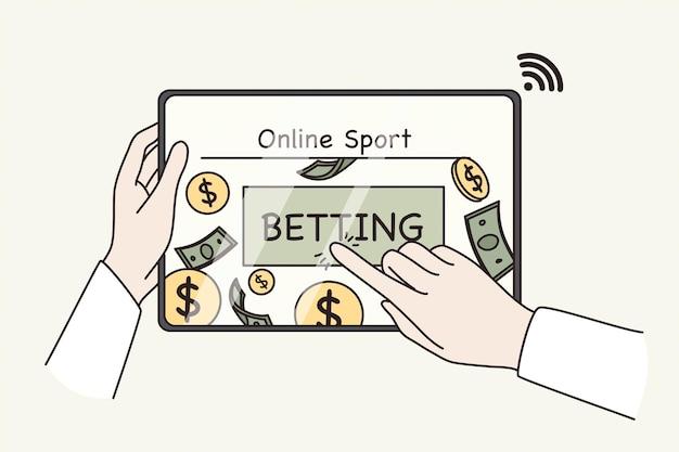 Интернет-ставки и концепция зарабатывания денег. спортивная игра. человеческие руки нажимают кнопку онлайн-ставок на экране планшета для получения прибыли деньги векторная иллюстрация