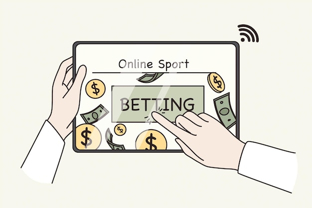 Online betting and making money concept. sports game. human hands pushing online betting button on tablet screen for making profit money vector illustration