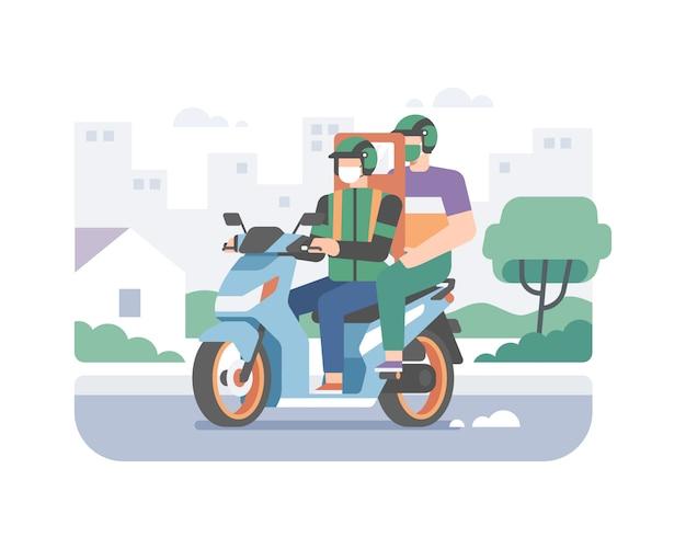 都市のシルエットの背景を持つコロナウイルスのパンデミックのイラストを防ぐために乗客を提供するときに健康プロトコルを実装するオンラインの自転車輸送サービスのライダーまたはオートバイの運転手