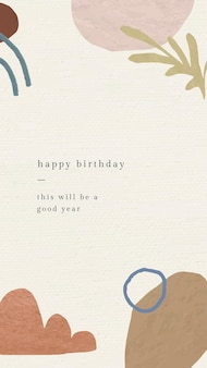 Online birthday greeting template vector with botanical memphis pattern