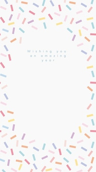 Online birthday greeting template vector with confetti sprinkle frame