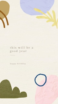 Online birthday greeting template with botanical memphis pattern