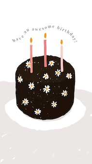 Online birthday greeting template with cute cake and wishing text