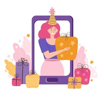 オンライン誕生日パーティー、休日。スマートフォンを介したコミュニケーション。