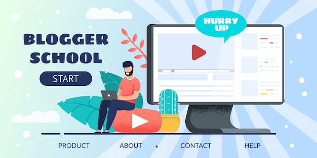 Online blogger school landing page for e-learning