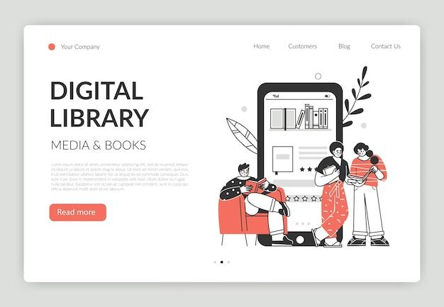 オンラインブックライブラリのコンセプト。スマートフォンでオンラインで本を読んでいる文字とベクトルグラフィックイラスト。ウェブサイトとアプリ開発のコンセプト。