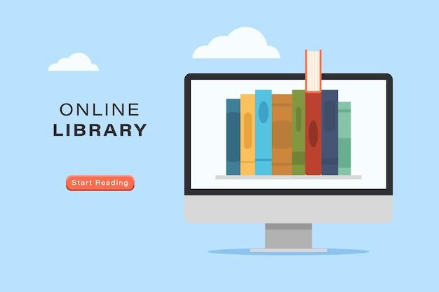 オンラインブックライブラリのウェブサイト、電子ブック、eラーニングバナー。インターネット上の教育、コンピューターモニター画面のベクトル図で読むための電子文学アーカイブメディアリソース