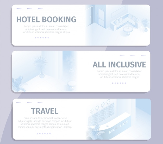 Online booking all inclusive hotel travel banners