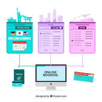 Online booking background Free Vector