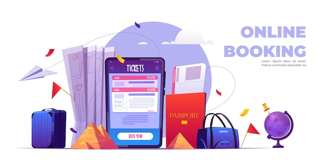 Online booking cartoon banner, tickets reservation service application on mobile phone screen.