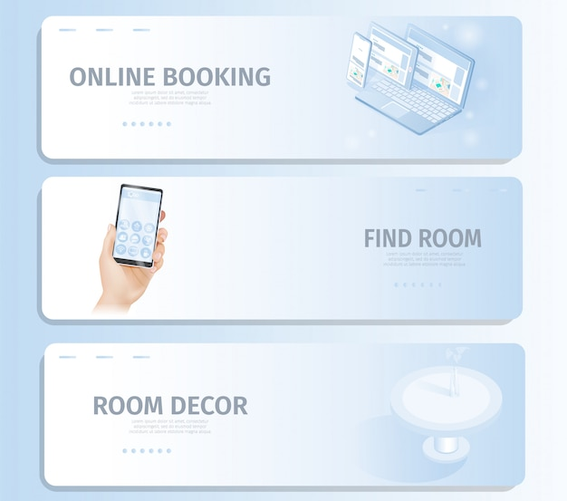 Online booking find room decor banner landing page