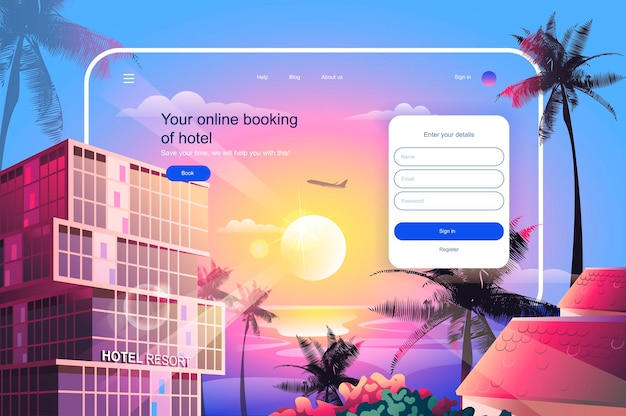 Online booking of hotel landing page template vector illustration