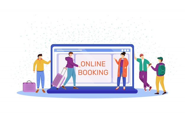 Online booking   illustration. choosing hotel in internet. making reservation at website. tourists with luggage, suitcases. preparation for trip, voyage, vacation cartoon characters