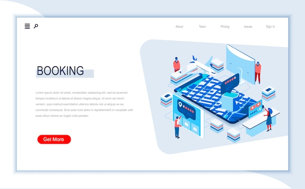 Online booking isometric landing page template.