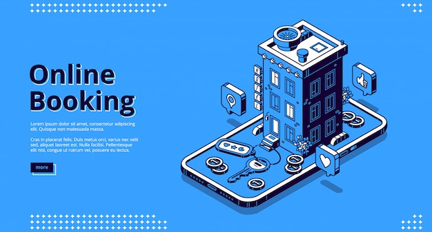 Online booking isometric landing, room reservation