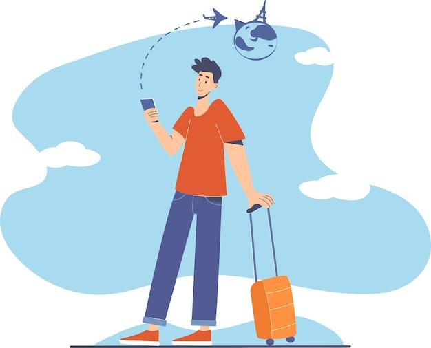 Онлайн бронирование авиабилетов для путешествий. современная концепция иллюстрации. человек с телефоном и авиабилетами бронирования багажа.