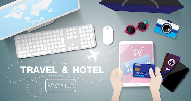 Online booking sale with taplet by credit card on table