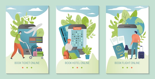 Online booking service  illustration. book hotel, flight banner template. ticket booked through mobile application.