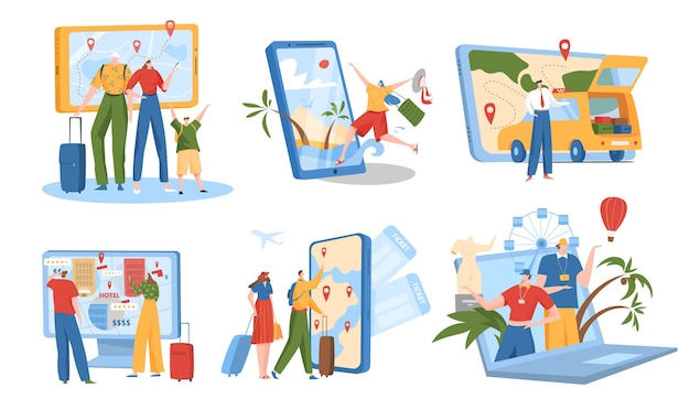 Online booking service illustration set