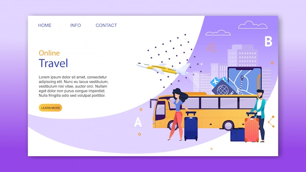 Online booking service for travel landing page.