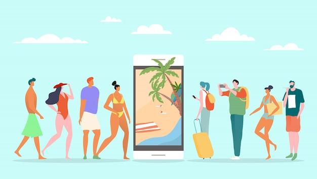 Онлайн servoce резервирования на летние каникулы, иллюстрация. туристический человек, стоящий в очереди возле большого смартфона, тропический