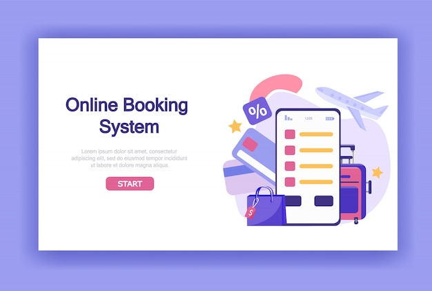Online booking system with payment banner