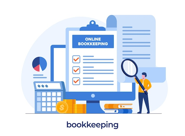 Online bookkeeping concept, financial concept, accounting, analyst and audit, flat illustration vector template
