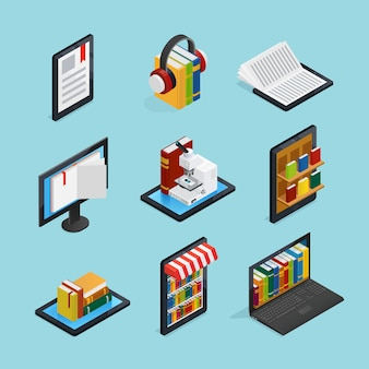 Online books isometric set