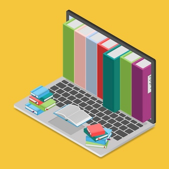 Online books shop in isometric view,