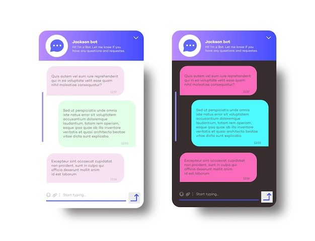 흰색 배경 소셜에 격리된 웹사이트 및 모바일 애플리케이션용 온라인 봇 채팅 창