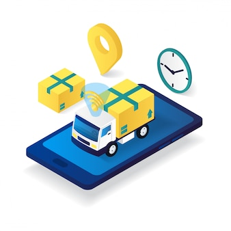 Online box truck on smartphone delivery service flat 3d isometric illustration
