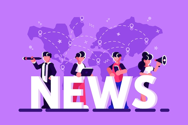 Online breaking news concept vector illustration. businessmen, businesswomen with megaphone, telescope are standing near big letters, using their own smart phones and laptop for reading news. flat