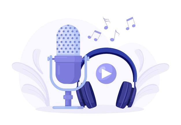 Online broadcasting concept. audio recording. sound recording equipment, microphones, headset. headphones with microphone. music earphones