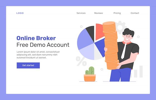 Концепция дизайна целевой страницы брокера онлайн. мужчина держит стопку золотых монет, круговую диаграмму. заработок на финансовых рынках. акции и валюты. плоская иллюстрация.