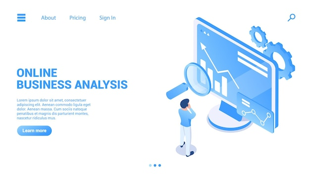 Online business analysis concept consulting for company performance