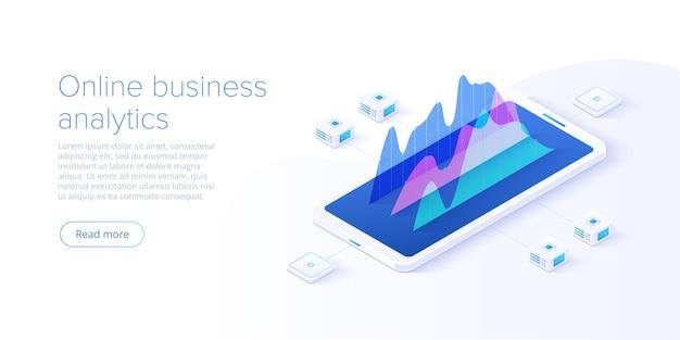 Изометрический стиль стратегии онлайн-анализа бизнеса