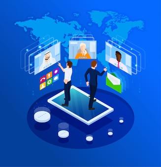 オンラインビジネスチャットプロセス。アイソメ図スタイルのイラスト。
