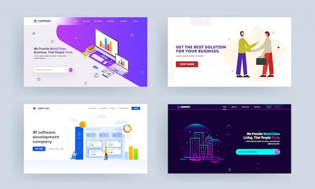 온라인 비즈니스 클래스, 비즈니스를위한 최고의 솔루션, 소프트웨어 개발 회사 및 부동산 개념 기반 랜딩 페이지 디자인.