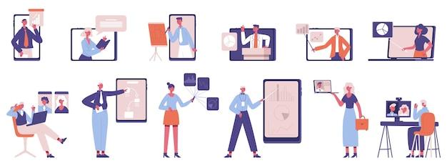 온라인 비즈니스 코칭. 웨비나, 온라인 컨퍼런스 또는 프레젠테이션, 온라인 비즈니스 멘토링 세트