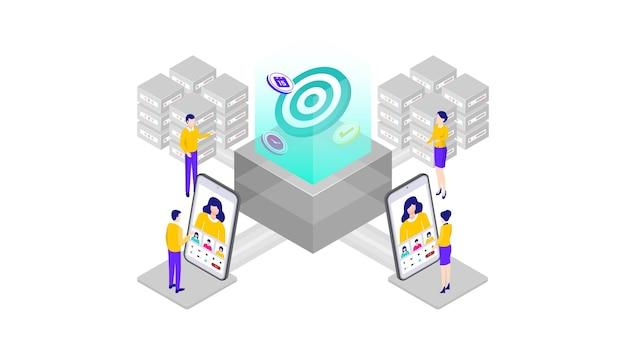 オンラインビジネス会議アイソメトリック3dベクトルイラストデスクトップwebユーザーインターフェイス、webバナー、図、インフォグラフィック、挿絵、ゲームアセット、およびその他のグラフィックアセットに適しています