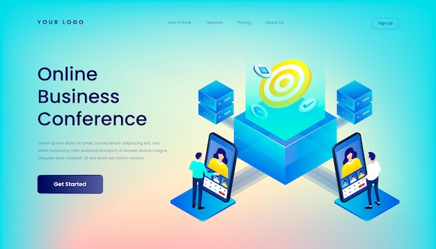 Online business conference landing page template with   isometric 3d   illustration desktop web user interface