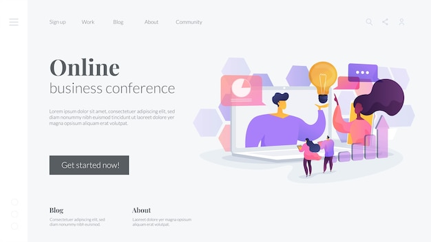 Online business conference landing page template