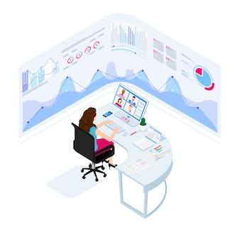 オンラインビジネス会議。アイソメ図スタイルのイラスト。