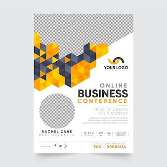 Online business conference poster template